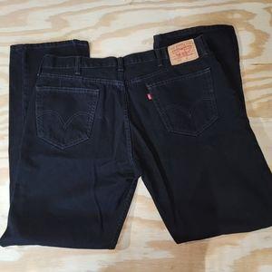 Levi's 505 Straight Fit Black Jeans 42 x 34